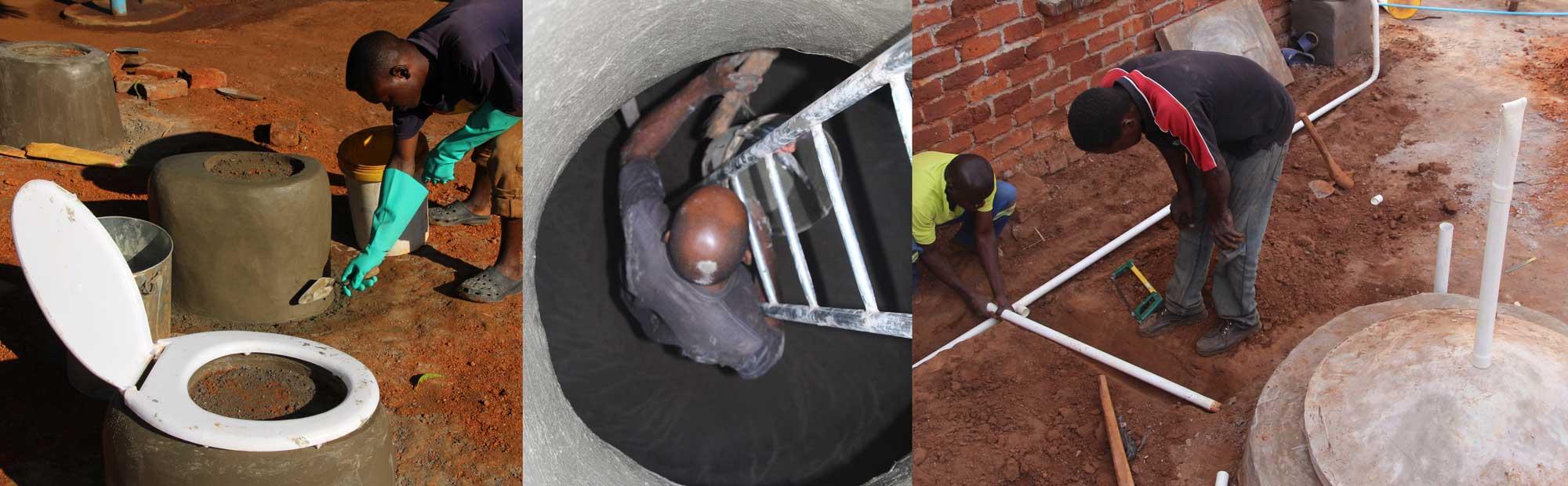 Toilet seat, 7 m³ water tank, rain water harvesting